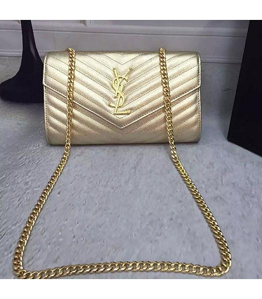 Replica YSL Gold Original Calfskin Leather 23cm Shoulder Bag Golden Chain