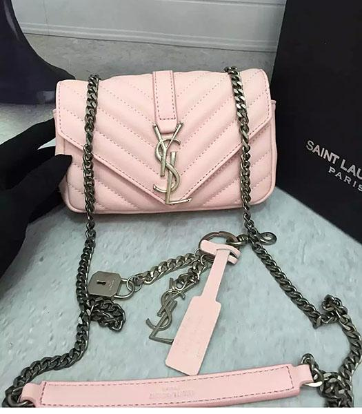 YSL Pink Sheepskin Leather Shoulder Bag Silver Chain