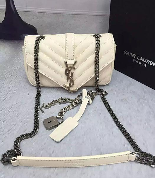 YSL White Sheepskin Leather Shoulder Bag Silver Chain