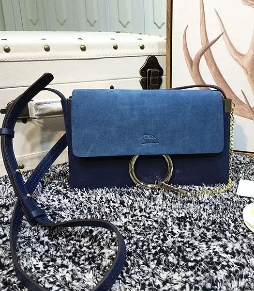 Chloe Hot-sale Sapphire Blue Leather Small Shoulder Bag