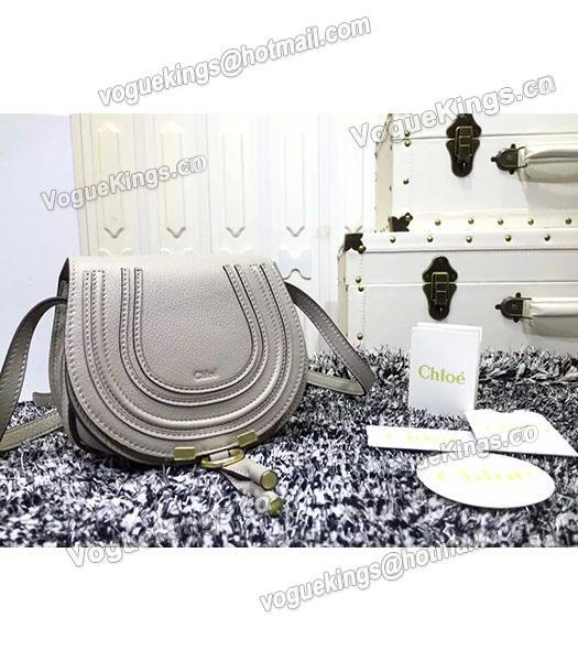Chloe Grey Calfskin Leather Litchi Veins Shoulder Bag-1