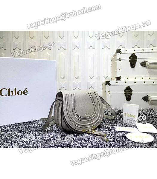 Chloe Grey Calfskin Leather Litchi Veins Shoulder Bag-2