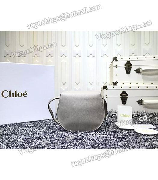 Chloe Grey Calfskin Leather Litchi Veins Shoulder Bag-5