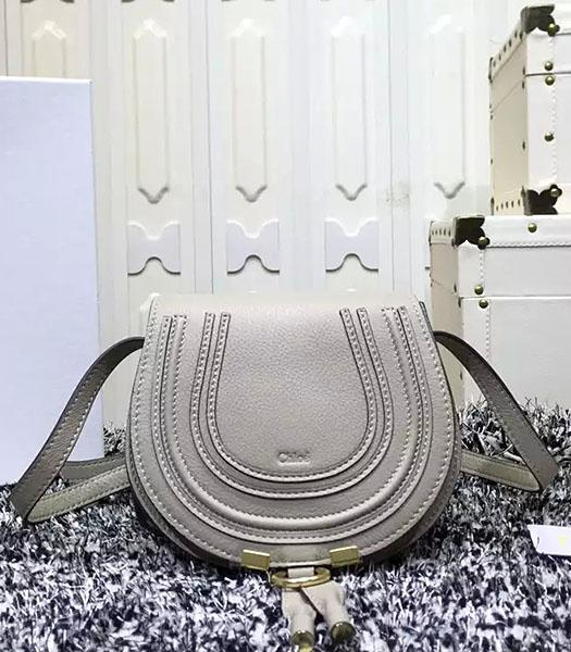 Chloe Grey Calfskin Leather Litchi Veins Shoulder Bag