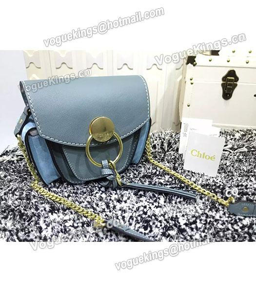 Chloe Jodie Light Blue Leather Small Shoulder Bag Golden Chain-1