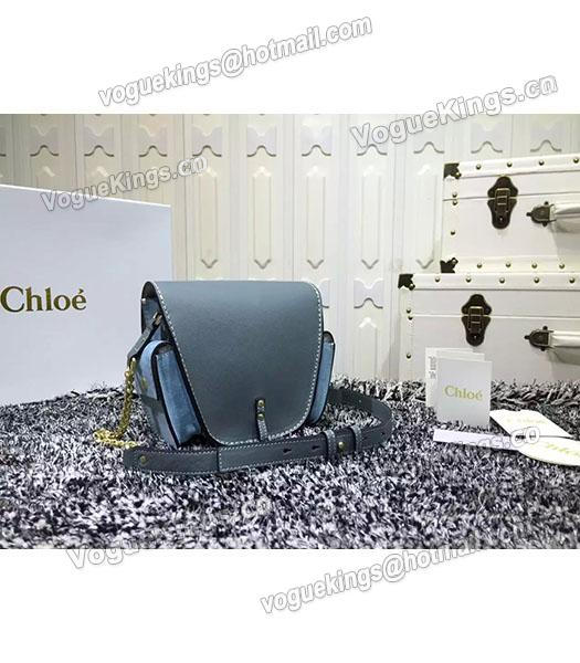 Chloe Jodie Light Blue Leather Small Shoulder Bag Golden Chain-2