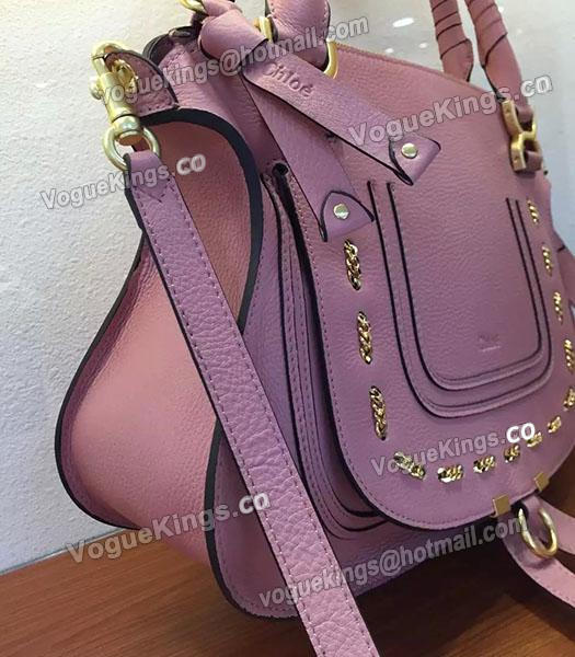Chloe Marcie Pink Leather Small Tote Bag Golden Hardware-2