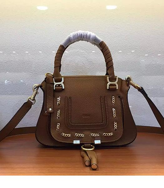 Chloe Marcie Khaki Leather Small Tote Bag Golden Hardware