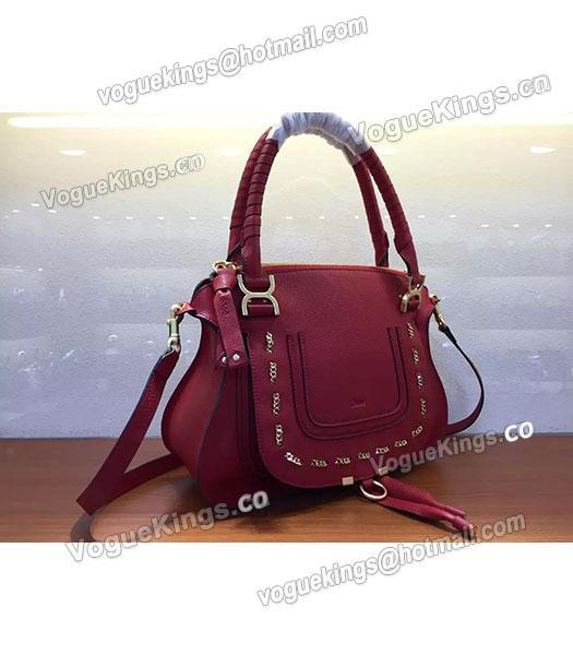 Chloe Marcie Red Leather Large Tote Bag Golden Hardware-1