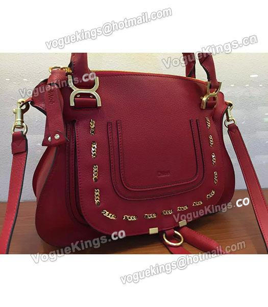 Chloe Marcie Red Leather Large Tote Bag Golden Hardware-2