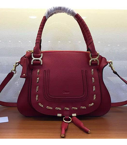 Chloe Marcie Red Leather Large Tote Bag Golden Hardware
