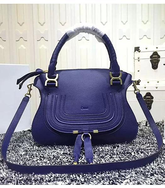 Chloe Marcie Classic Small Tote Bag In Blue Leather