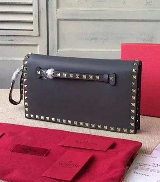 Valentino Rockstud 00399 Dark Grey Calfskin Leather Clutch