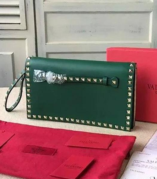 Valentino Rockstud 00399 Emerald Green Calfskin Leather Clutch