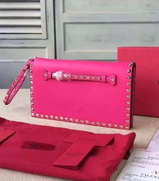 Valentino Rockstud 00399 Fuchsia Calfskin Leather Clutch