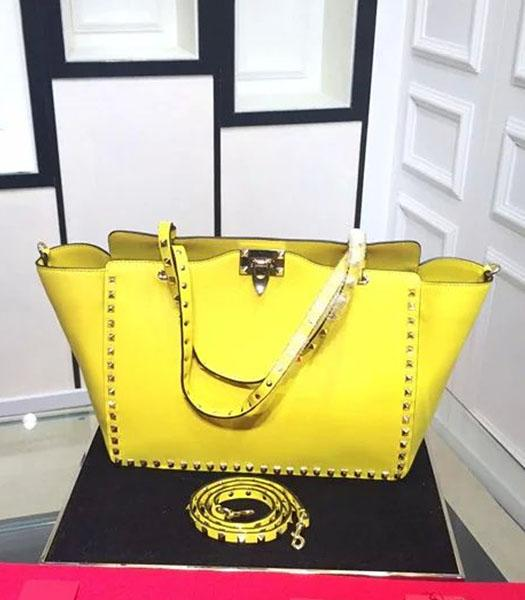 Valentino Medium Rockstud Tote Bag Yellow Original Leather Golden Nail