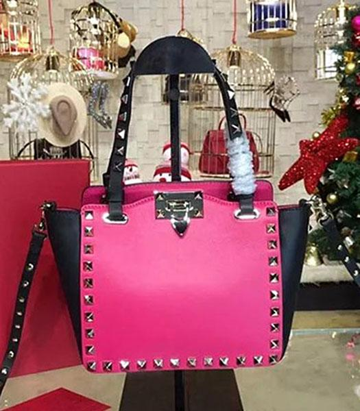 Valentino Mini Tote Bag Black/Fuchsia Original Leather Golden Nail