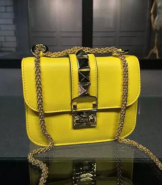 Valentino BOX 17cm Original Leather Shoulder Bag Lemon Yellow