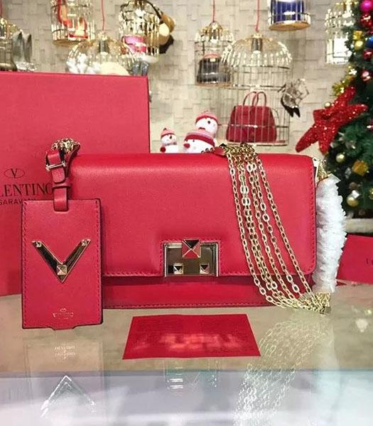 Valentino Latest Design Red Leather Shoulder Bag Golden Chain