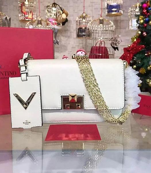 Valentino Latest Design White Leather Shoulder Bag Golden Chain