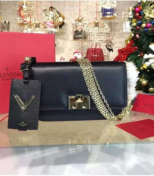 Valentino Latest Design Black Leather Shoulder Bag Golden Chain