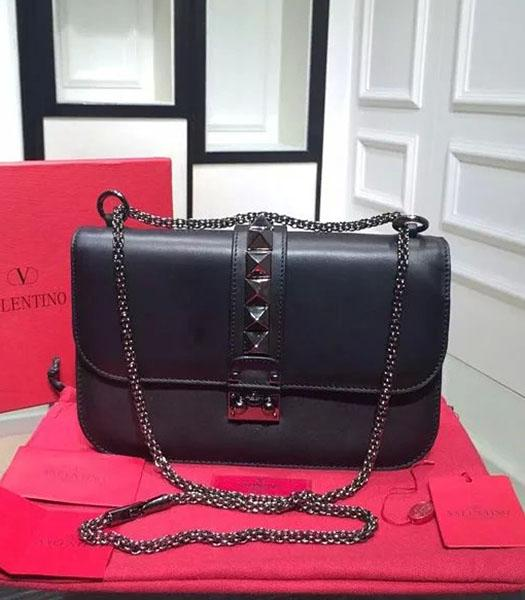 Valentino BOX Shoulder Bag Black Original Leather Gun Nail