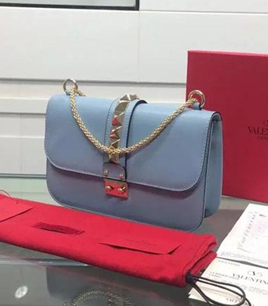 Valentino BOX Shoulder Bag Light Blue Original Leather Golden Chain
