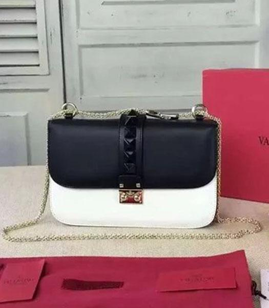 Valentino BOX Shoulder Bag Black/White Original Leather Golden Chain