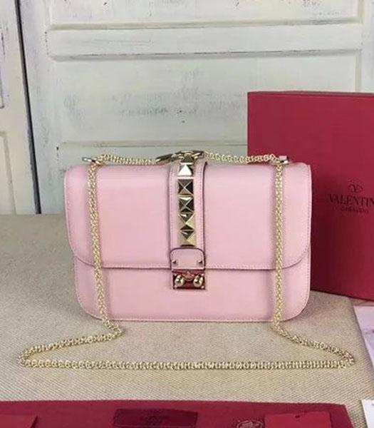 Valentino BOX Shoulder Bag Pink Original Leather Golden Chain