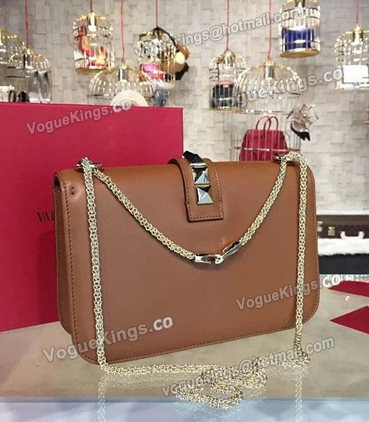 Valentino Noir Shoulder Bag With Brown Original Leather Golden Chain-1