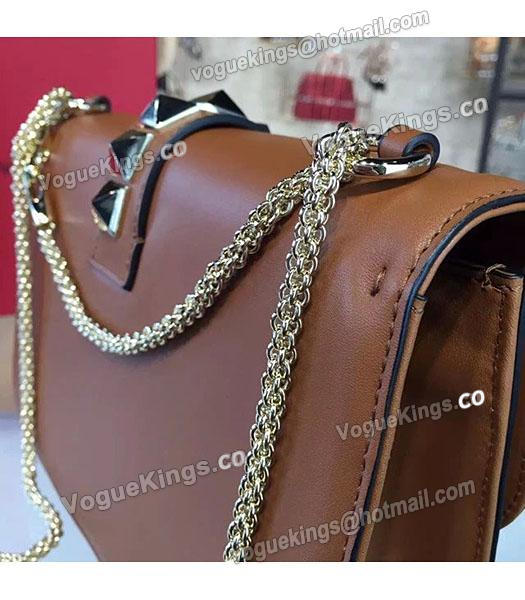 Valentino Noir Shoulder Bag With Brown Original Leather Golden Chain-2