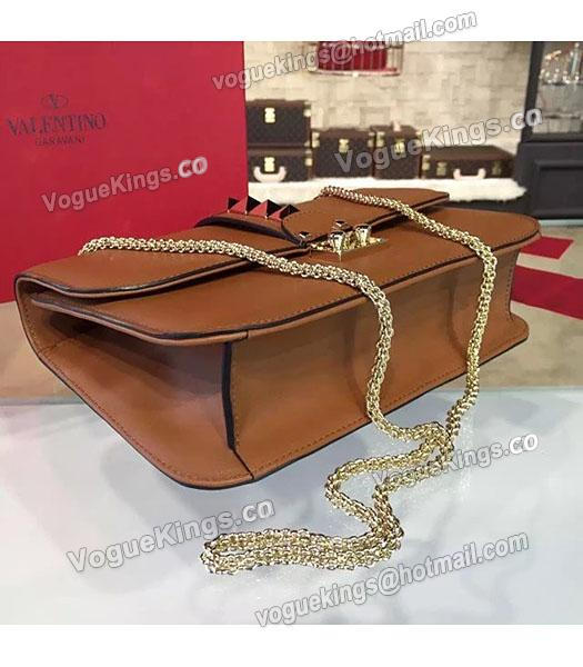 Valentino Noir Shoulder Bag With Brown Original Leather Golden Chain-3