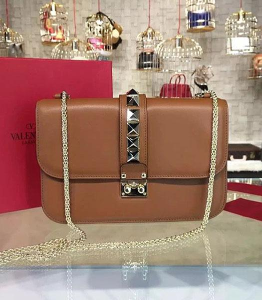 Valentino Noir Shoulder Bag With Brown Original Leather Golden Chain