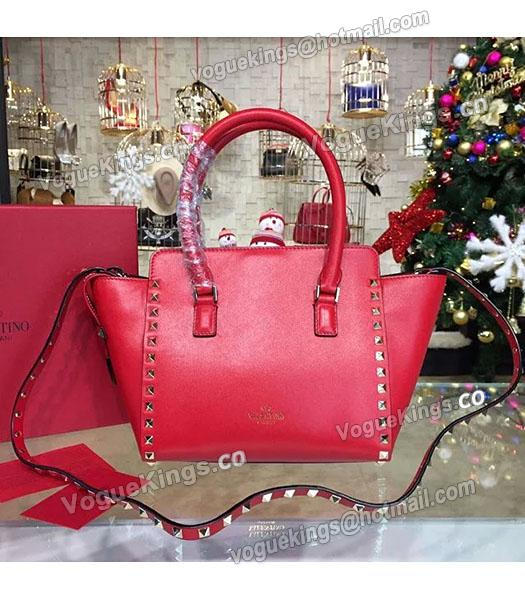 Valentino Rockstud Small Top Handle Bag Red Original Leather Golden Nail-1