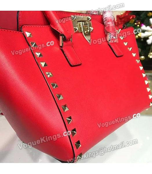 Valentino Rockstud Small Top Handle Bag Red Original Leather Golden Nail-2