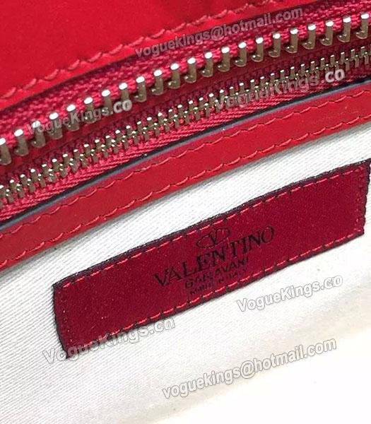 Valentino Rockstud Small Top Handle Bag Red Original Leather Golden Nail-5