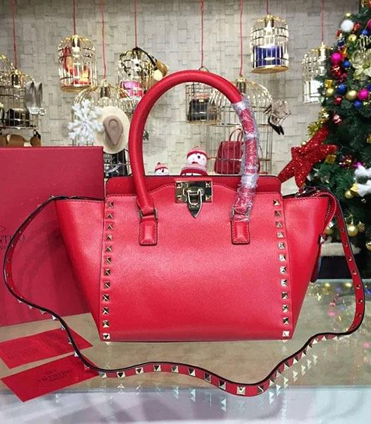 Valentino Rockstud Small Top Handle Bag Red Original Leather Golden Nail
