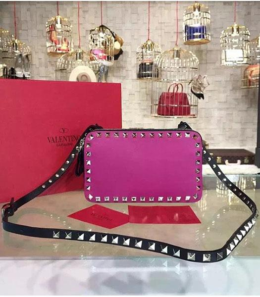 Valentino Rockstud Fuchsia Leather Small Crossbody Bag Golden Nail