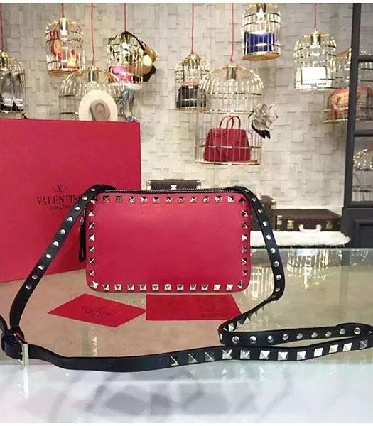 Valentino Rockstud Red Leather Small Crossbody Bag Golden Nail
