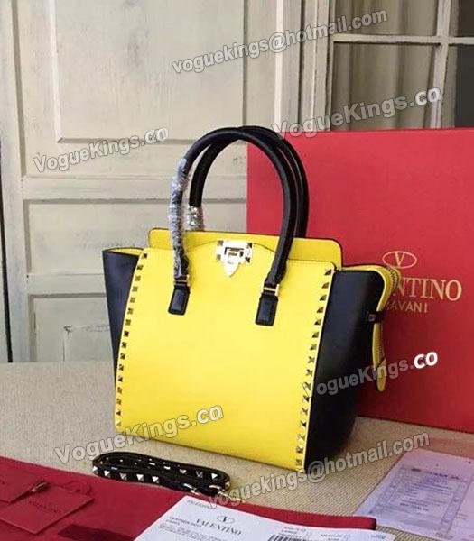 Valentino Rockstud Tote Bag Yellow/Black Original Leather Golden Nail-1