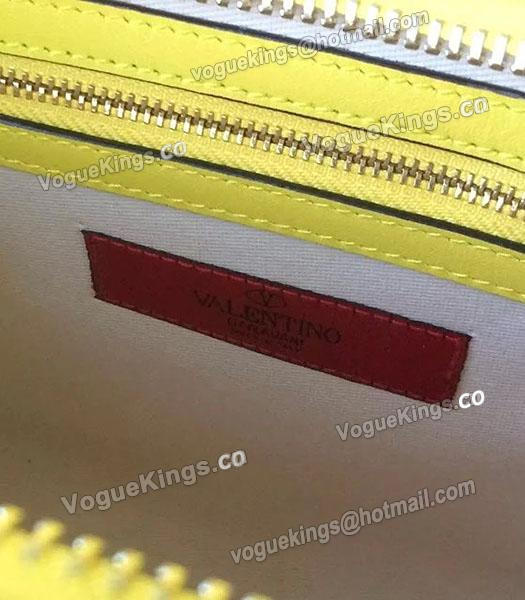 Valentino Rockstud Tote Bag Yellow/Black Original Leather Golden Nail-5