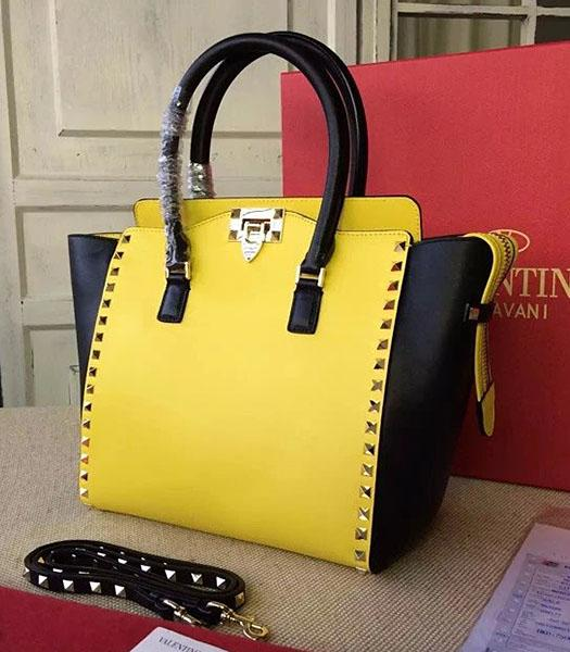 Valentino Rockstud Tote Bag Yellow/Black Original Leather Golden Nail