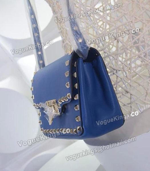Valentino Rockstud Cross Body Bag Blue Original Leather Golden Nail-2