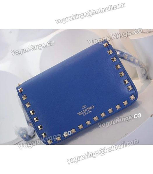 Valentino Rockstud Cross Body Bag Blue Original Leather Golden Nail-3