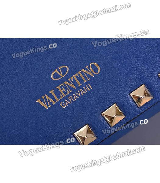 Valentino Rockstud Cross Body Bag Blue Original Leather Golden Nail-6