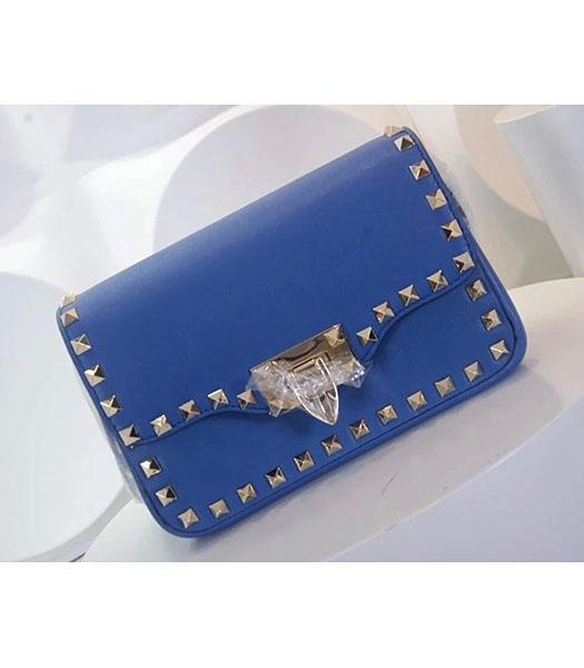 Valentino Rockstud Cross Body Bag Blue Original Leather Golden Nail