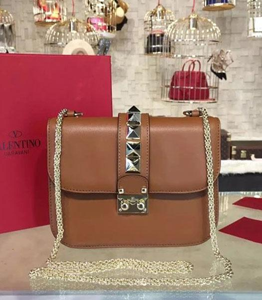 Valentino Brown Calfskin Leather Mini Shoulder Bag Tarot Chain