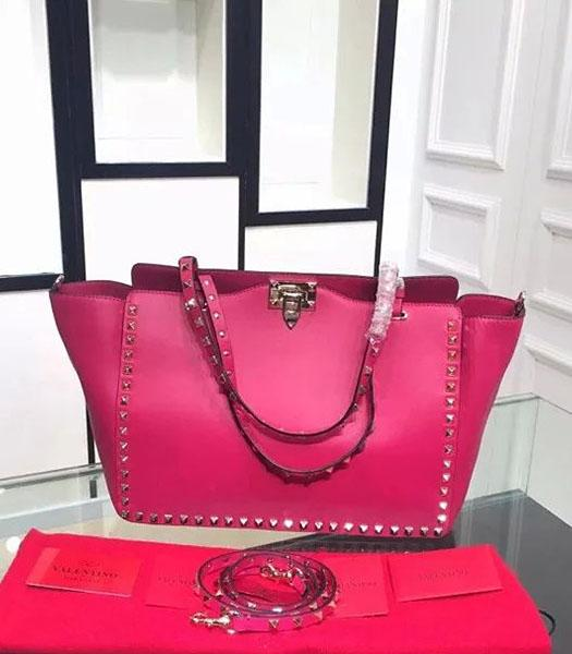 Valentino Medium Rockstud Tote Bag Fuchsia Original Leather Golden Nail