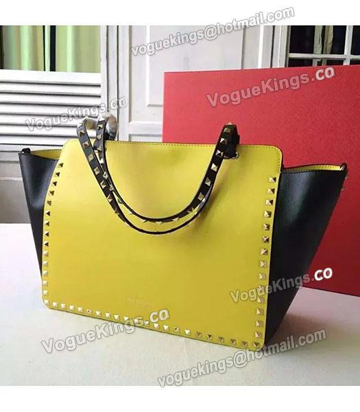 Valentino Medium Rockstud Tote Bag Yellow/Black Original Leather Golden Nail-1