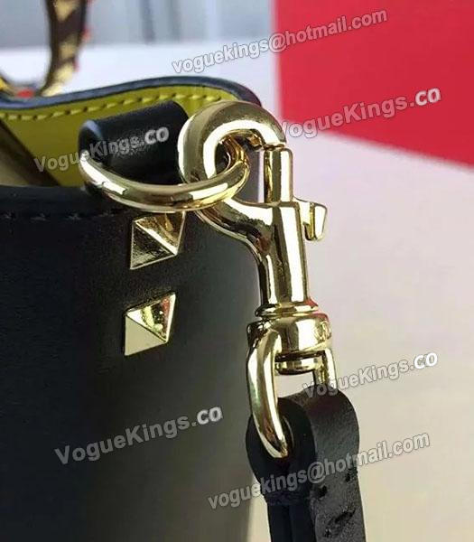 Valentino Medium Rockstud Tote Bag Yellow/Black Original Leather Golden Nail-4